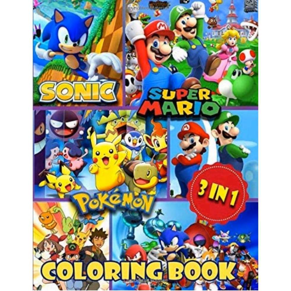 Cahier Libvre A Colorier Sonic Mario Pokemon
